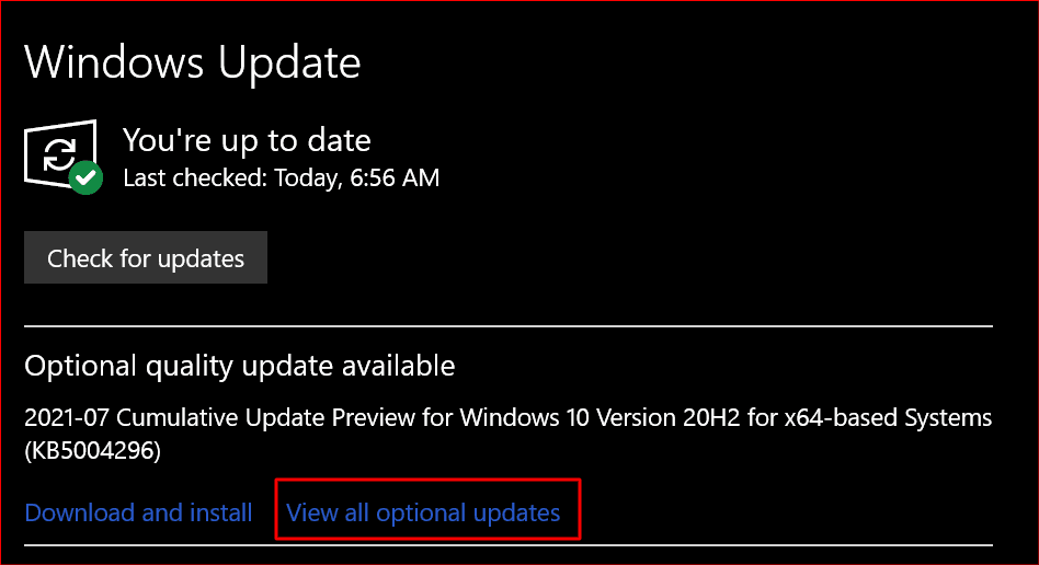 view all optional updates choice in windows update center