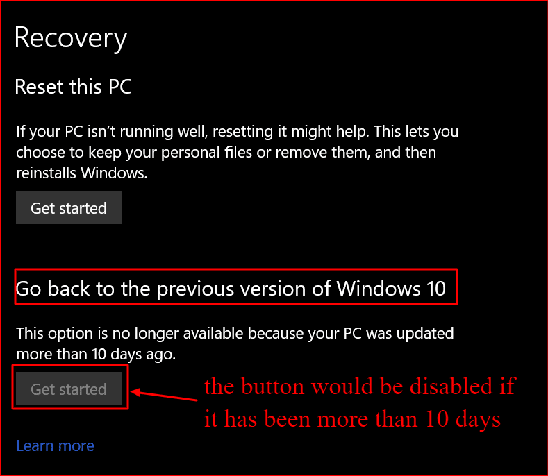final step of going back to the previous version of windows 10