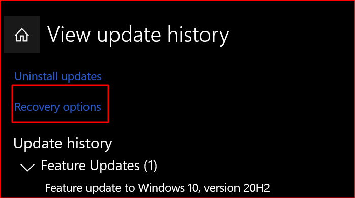 selecting recovery options from the update history settings in windows 10