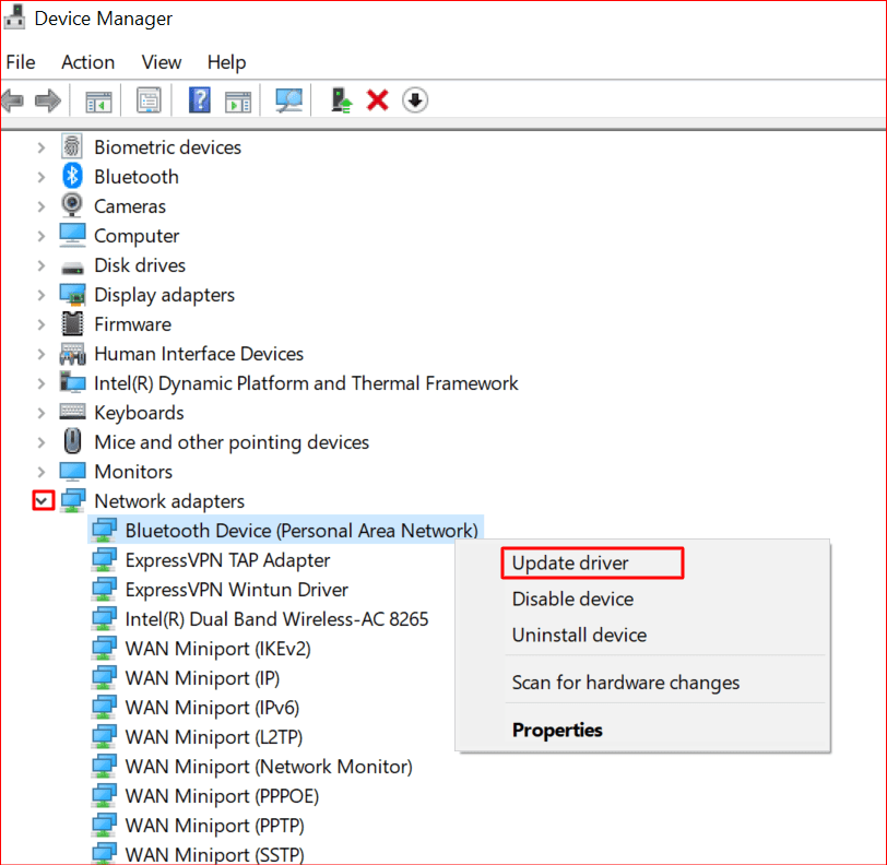 updating driver with device manager
