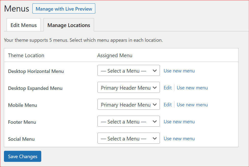 5 different types of menu that can added to a WP site