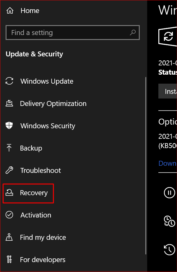 choosing the recovery option from the windows update settings page