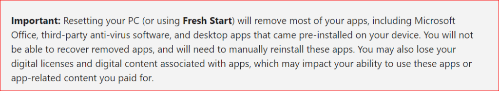 important note from Microsoft regarding factory reset